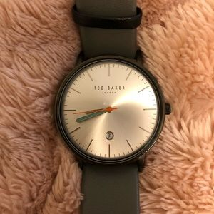 Ted Baker men's gray leather band watch